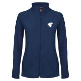 Ladies Fleece Full Zip Navy Jacket-Spartan Icon
