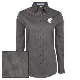 Ladies Grey Tonal Pattern Long Sleeve Shirt-Spartan Icon