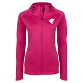Ladies Tech Fleece Full Zip Hot Pink Hooded Jacket-Spartan Icon