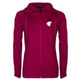 Ladies Sport Wick Stretch Full Zip Deep Berry Jacket-Spartan Icon
