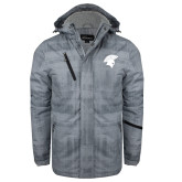 Grey Brushstroke Print Insulated Jacket-Spartan Icon