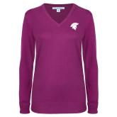 Ladies Deep Berry V Neck Sweater-Spartan Icon