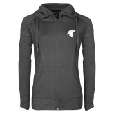 Ladies Sport Wick Stretch Full Zip Charcoal Jacket-Spartan Icon