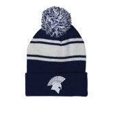 Navy/White Two Tone Knit Pom Beanie w/Cuff-Spartan Icon