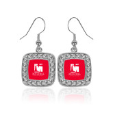 Crystal Studded Square Pendant Silver Dangle Earrings-Mitchell College Vertical Logo