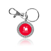 Crystal Studded Round Key Chain-Mitchell College Vertical Logo