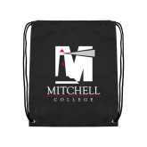 Black Drawstring Backpack-Mitchell College Vertical Logo