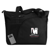 Excel Black Sport Utility Tote-Mitchell College Vertical Logo