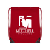 Red Drawstring Backpack-Mitchell College Vertical Logo