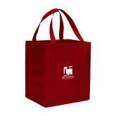 Non Woven Red Grocery Tote-Mitchell College Vertical Logo