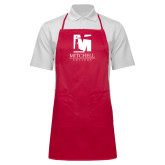 Full Length Red Apron-Mitchell College Vertical Logo