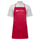 Full Length Red Apron-Mitchell College Horizontal Logo
