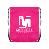 Pink Drawstring Backpack-Mitchell College Vertical Logo