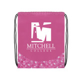 Nylon Pink Bubble Patterned Drawstring Backpack-Mitchell College Vertical Logo