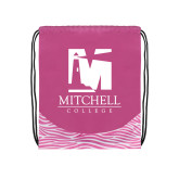 Nylon Zebra Pink/White Patterned Drawstring Backpack-Mitchell College Vertical Logo