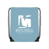 Light Blue Drawstring Backpack-Mitchell College Vertical Logo