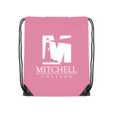 Light Pink Drawstring Backpack-Mitchell College Vertical Logo