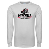 White Long Sleeve T Shirt-Mitchell Mariners Stacked