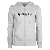 ENZA Ladies White Fleece Full Zip Hoodie-Mitchell College Horizontal Logo