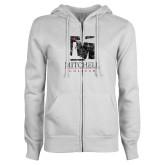ENZA Ladies White Fleece Full Zip Hoodie-Mitchell College Vertical Distressed