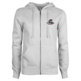 ENZA Ladies White Fleece Full Zip Hoodie-Primary Athletics Mark