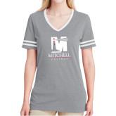 Ladies Grey Heather/White Tri Blend Varsity Tee-Mitchell College Vertical Logo