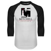 White/Black Raglan Baseball T Shirt-Mitchell College Vertical Logo
