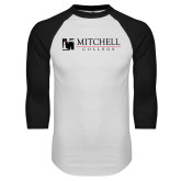 White/Black Raglan Baseball T Shirt-Mitchell College Horizontal Logo