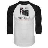 White/Black Raglan Baseball T Shirt-Mitchell College Vertical Distressed