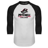 White/Black Raglan Baseball T Shirt-Primary Athletics Mark
