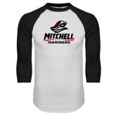 White/Black Raglan Baseball T Shirt-Mitchell Mariners Stacked