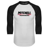 White/Black Raglan Baseball T Shirt-Mitchell Mariners Wordmark
