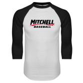 White/Black Raglan Baseball T Shirt-Baseball Wordmark