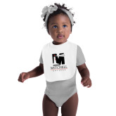 White Baby Bib-Mitchell College Vertical Logo