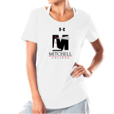 Ladies Under Armour White Charged Cotton Tee-Mitchell College Vertical Logo