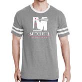 Grey Heather/White Tri Blend Varsity Tee-Mitchell College Vertical Logo