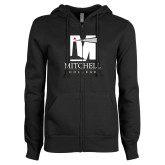 ENZA Ladies Black Fleece Full Zip Hoodie-Mitchell College Vertical Logo