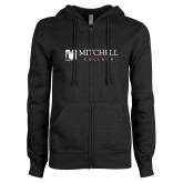 ENZA Ladies Black Fleece Full Zip Hoodie-Mitchell College Horizontal Logo