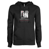 ENZA Ladies Black Fleece Full Zip Hoodie-Mitchell College Vertical Distressed