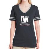 Ladies Black Heather/Grey Tri Blend Varsity Tee-Mitchell College Vertical Logo