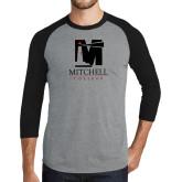 Grey/Black Tri Blend Baseball Raglan-Mitchell College Vertical Logo
