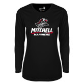 Ladies Syntrel Performance Black Longsleeve Shirt-Mitchell Mariners Stacked