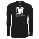 Under Armour Black Long Sleeve Tech Tee-Mitchell College Vertical Logo