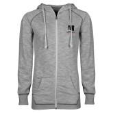 ENZA Ladies Grey/Black Marled Full Zip Hoodie-Mitchell College Vertical Logo