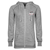 ENZA Ladies Grey/Black Marled Full Zip Hoodie-Primary Athletics Mark
