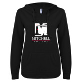 ENZA Ladies Black V Notch Raw Edge Fleece Hoodie-Mitchell College Vertical Logo