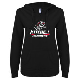 ENZA Ladies Black V Notch Raw Edge Fleece Hoodie-Mitchell Mariners Stacked