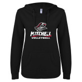 ENZA Ladies Black V Notch Raw Edge Fleece Hoodie-Volleyball