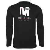 Performance Black Longsleeve Shirt-Mitchell College Vertical Logo