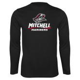 Performance Black Longsleeve Shirt-Mitchell Mariners Stacked